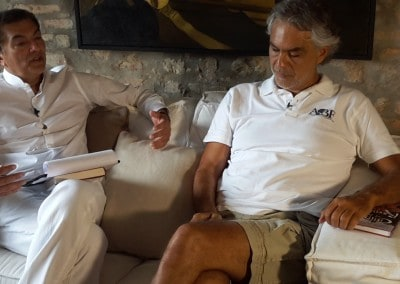 Andrea Bocelli clutching COR