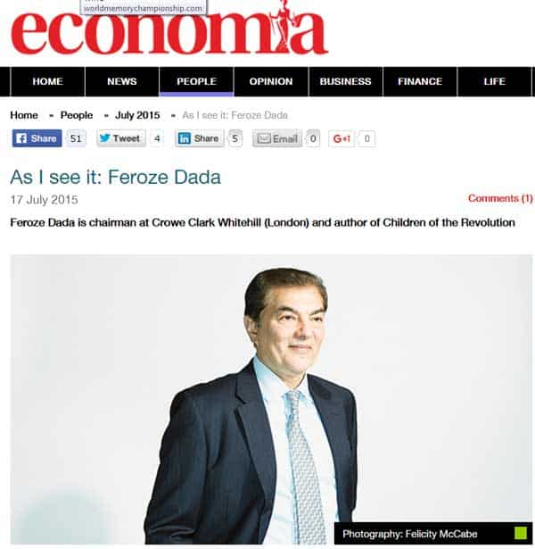 As I see it – Feroze Dada in economia magazine